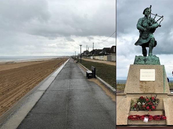 Bill Milling che cammina fiero sulla spiaggia di Sword beach suonando la libertà portata dallo sbarco in Normandia.