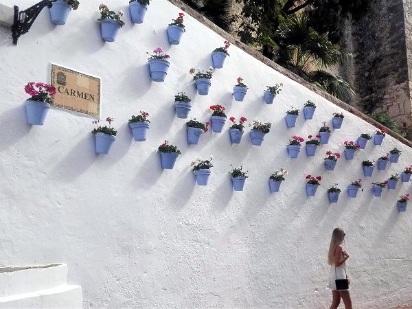 Uno scorcio di una via di Marbella, con caratteristici vasi di fiori colorati su un muro.
