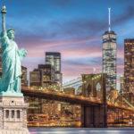 Veduta di New York e la Statua della Libertà